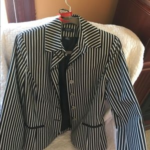Chaps Black and White Striped Jacket Sz LG
